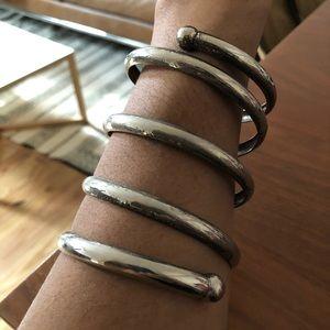 Coil silver metal statement cuff bracelet